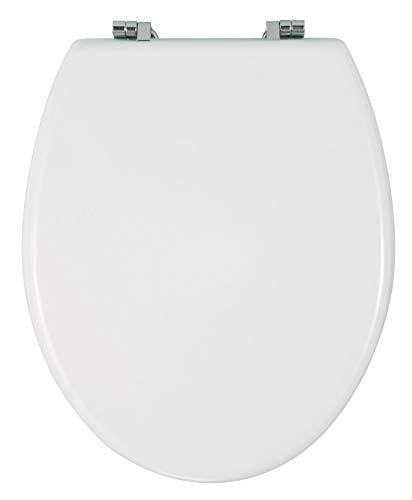 WENKO Tapa de WC Bali - sujeción de acero inox, MDF, 35 x 42 cm, Blanco