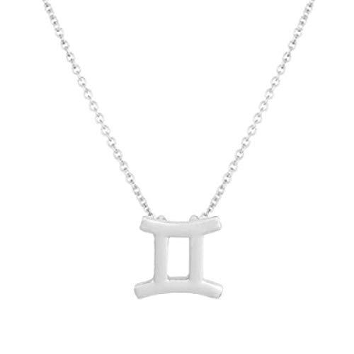 BGPOM Halskette Sommer Zwölf Sternbild Halskette Sternbild Anhänger Karte Schlüsselbeinkette, Zwillinge Silber