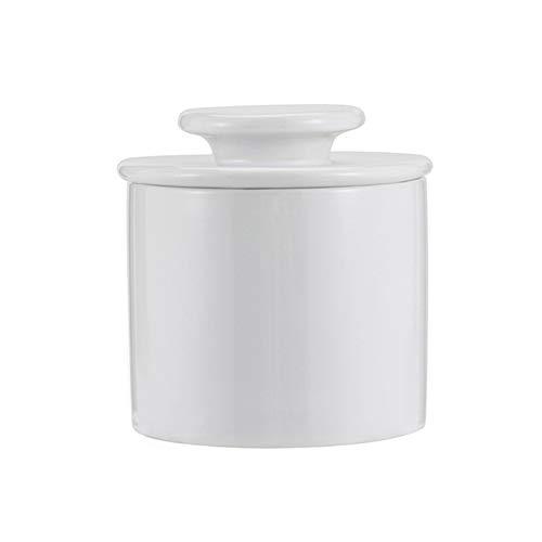 1 bandeja de almacenamiento de loza esmaltada con tapa, bandeja de mantequilla blanca y negra (color: blanco)