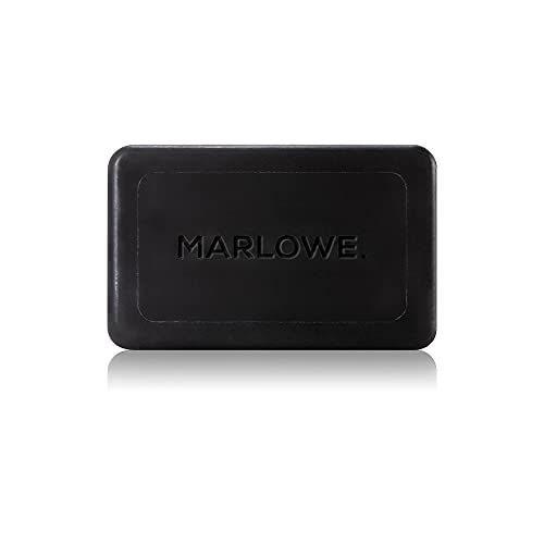 MARLOWE. Charcoal Face & Body Soap Bar No. 106 (7oz)   Best Cleansing & Detoxifying Bar for Men   Includes Natural Extracts, Shea Butter & Willow Bark   Amazing Scent