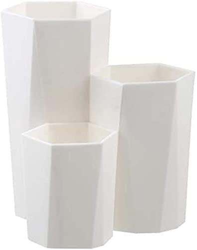 Guuisad Caja de Almacenamiento Caja de Escritorio de plástico Pincel de lápiz Labial Pincel de bolígrafo Cajas de joyería Cosméticos Simple Rack Home Office Papelería (Blanco) (Color : White)
