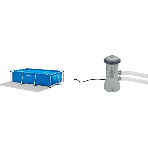 Intex Rectangular Frame Pool -Aufstellpool - 300 x 200 x 75 cm & Krystal Clear Cartridge Filter Pump - Pool Kartuschenfilteranlage - 900 L/H