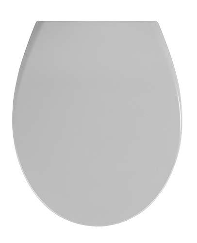 WENKO Premium WC-Sitz Samos Concrete Grey - Antibakterieller Toiletten-Sitz mit Absenkautomatik, rostfreie Fix-Clip Hygiene Edelstahlbefestigung, Duroplast, 37.5 x 44.5 cm, Hellgrau