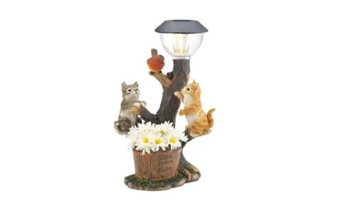 Luces de jardín con adornos solares para gatos, decoración al aire libre, funciona con energía solar, luces al aire libre, para patio, camino, decoración del hogar