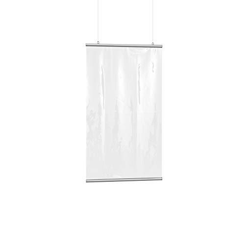 Vispronet Schutzvorhang Transparent mit Befestigung - Niesschutz, Hustenschutz, Spuckwand, hängend (BxH 118x140 cm)