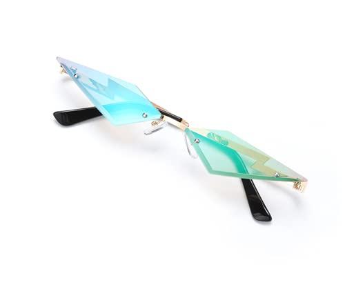 N\A Gafas de sol Cat Eye Gafas de sol Mujeres Sin bordes Vintage Diamond Shape Gafas Espejos UV400 Gafas True Film Lens Sun Glasses