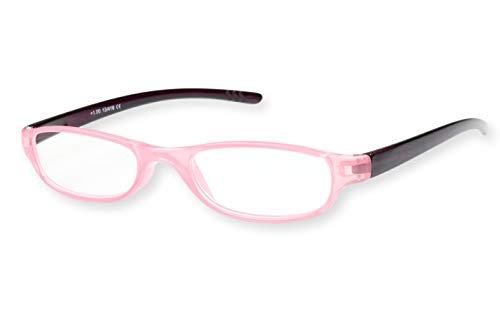 Leesbril dames roze ovaal licht smal transparant met donkerrode beugels leeshulp kijkhulp 1.0 1.5 2.0 2.5 3.0 Dioptrien 3.0 roze transparant met zwarte beugels