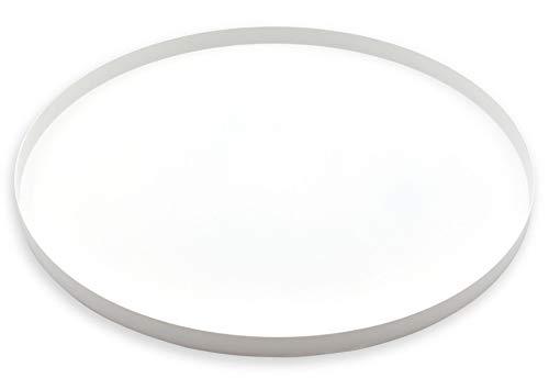 D&D Living Deko Tablett Rund Ø 40 cm | Design Dekoteller und Dekotablett aus Metall (Weiß matt)
