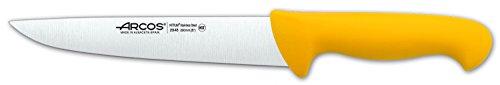 Arcos Serie 2900, Cuchillo Carnicero, Hoja de Acero Inoxidable Nitrum de 200 mm, Mango inyectado en Polipropileno Color Amarillo