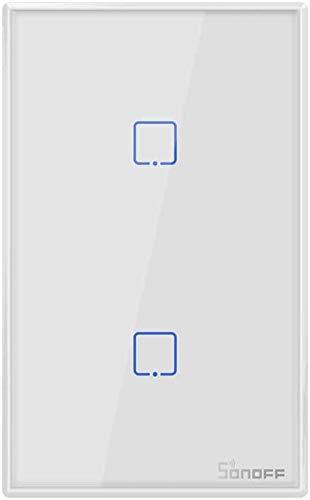 Sonoff T1 US 1/2/3 Gang Smart Touch Luce Interruttore Intelligente WiFi RF Timing Countdown Interruttore della Lampada da Parete di Controllo remoto(T1-US-2GANG)