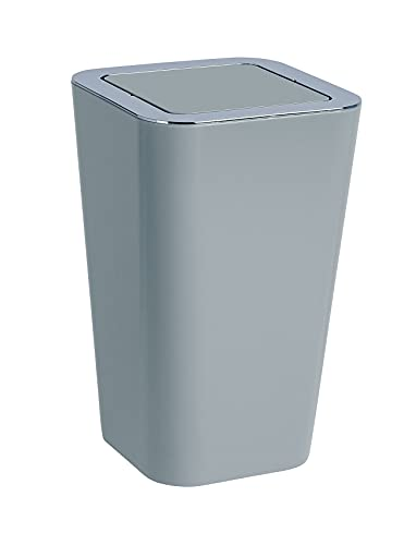 WENKO Schwingdeckeleimer Candy Grey - Abfallbehälter mit Schwingdeckel Fassungsvermögen: 6 l, Polystyrol, 18 x 28.5 x 18 cm, Grau