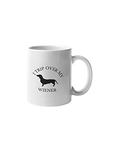 N\A Me tropiezo con mi Perro Salchicha Divertida Taza de café Taza amic/Idea de Regalo de Propietario de Perro Salchicha/Regalo de Cachorro / CM1017