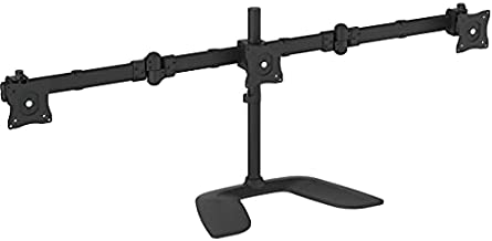 StarTech.com Triple Monitor Stand - Articulating - For Monitors 13 to 27 Adjustable VESA Computer Monitor Stand for 3 Monitor Setup - Steel - Black (ARMBARTRIO2)