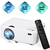 Mini Projector,Movie Portable Projector,Smartphone Video Projector 1080P Supported 200' Display, 55,000 Hrs Led Projector Compatible with Laptop/HDMI/USB for Home Entertainment