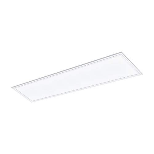 EGLO LED Panel Salobrena 1, Deckenlampe modern, Wohnzimmerlampe, LED Deckenleuchte aus Aluminium, Kunststoff, Bürolampe in Weiß, LED Küchenlampe, Flurlampe Decke neutralweiß, L 120 cm