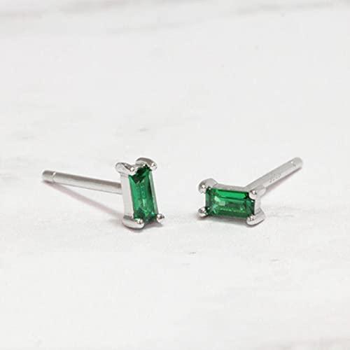 SALAN Pendientes Cuadrados De Piedra Verde Esmeralda para Mujer Pendientes De Perforación Pequeños Cartílago Plata De Ley 925