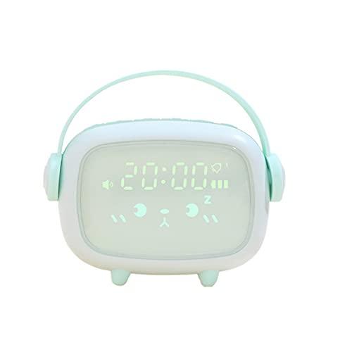 Digital Väckarklocka med Nattlampa, Sömnträning för Barn, Snooze-Funktion, Justerbar Ljusstyrka, USB Uppladdningsbart, för Flickor Pojkar,Green