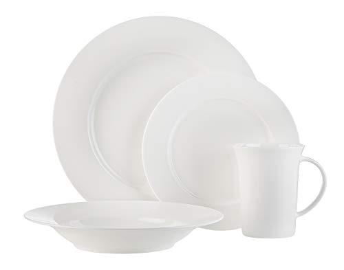 White Bone China 16-Piece Dinnerware Set Herrick by Godinger Service...