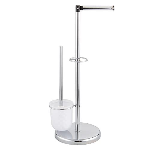 bremermann Stand-WC-Garnitur 3in1, WC-Bürste, (Ersatz-) Rollenhalter (Chrom)