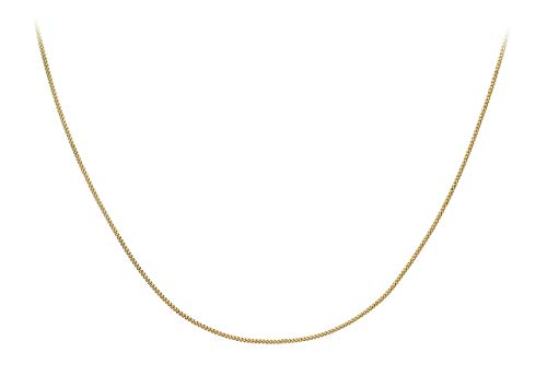 Carissima Gold Women's 9 ct Yellow Gold 0.8 mm Diamond Cut Curb Chain Necklace of Length 36 cm/14 Inch