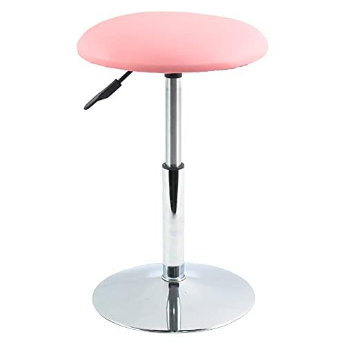FURWOO Taburete de trabajo redondo de cuero sintético taburete de barbero con rotación de altura ajustable adecuado para oficina en casa hotel salón (rosa)