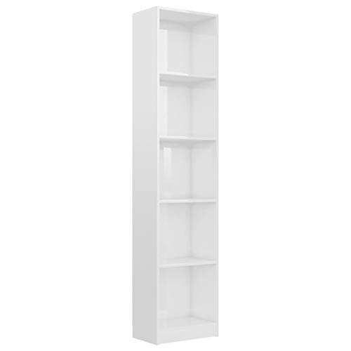 vidaXL Estantería 5 Niveles Estante de Libros Mueble Archivador Decoración Oficina Hogar Habitación Estable y Duradera de Aglomerado Blanco Brillo