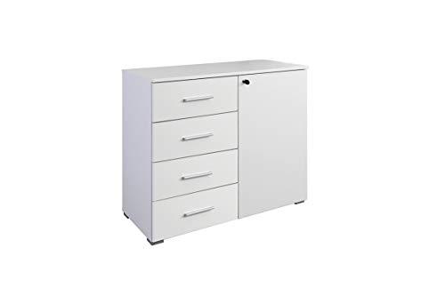 Rauch Möbel Buchholz Kommode abschließbar, Abschließbare Kommode in Weiß 1-türig mit 4 Schubladen inklusive Zubehörpaket Basic 1 Einlegeboden BxHxT 93 x 81 x 42 cm