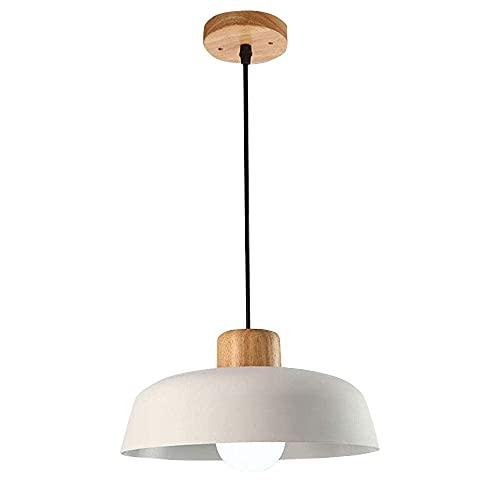 Lámpara de techo blanca de metal para comedor, retro, industria, casquillo E27, lámpara colgante de madera, decoración de araña, para salón, dormitorio, mesa de comedor, balcón, cocina, D30 cm