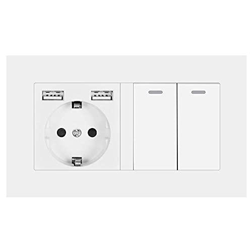 Socket con interruptor de balancín, conector de alimentación de pared 220V 16A con panel de PC con USB 146mm * 86mm con interruptor de luz 2gang 3way-blanco_2 Gang 1 Way