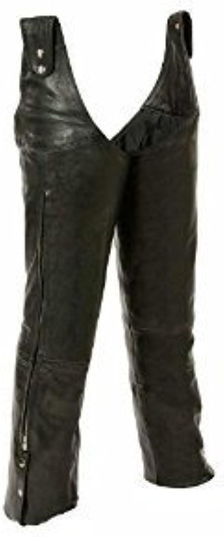 LEATHER KING Leather King Unisex Beltless Chaps W  Waist Adjustment Sh1198 Black