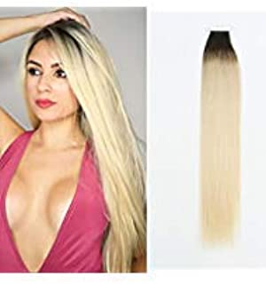 Sassina Remy Tape in Human Hair Extension 18 Inch Professional Tape on Skin Wefts Rooted Dark Brown Fading to Platinum Ash Blonde,Reusable,Invisable (R2-60 18 Inch)