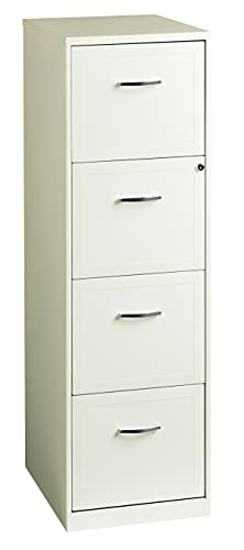 Space Solutions Deep Vertical 18' 4-Drawer Metal File Cabinet, Black, Pearl White