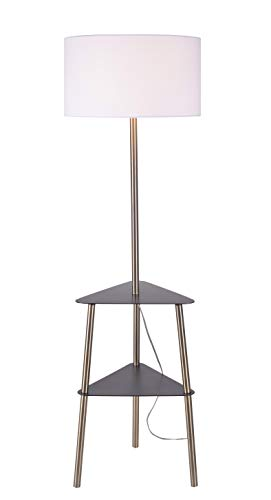 Kenroy Home 35344AB Viviene Floor Lamp with Tray with Black Metal Trays, Antique Brass