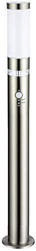 LED-Edelstahl-Außen-Steh-Sockel-Wege-Leuchte-Lampe LISA, H: 100 cm, D: 7,6 cm, Kunststoffglas, Bewegungsmelder, Hauptlicht E27 max 40W, Grundlichtring 12 x fest eingebaute LEDs, Dämmerungssensor, IP44