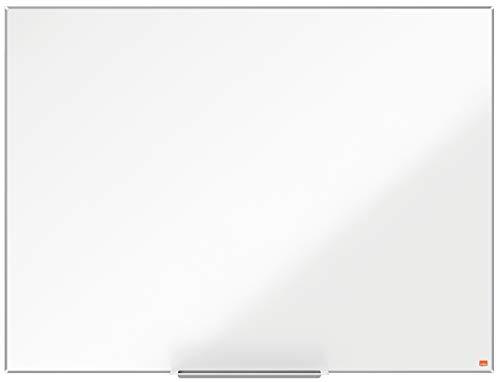 Nobo Pizarra Magnética de Acero Vitrificado con Bandeja para Rotuladores, 1200 x 900mm, Marco Fino, Sistema de Instalación InvisaMount, Impression Pro, Blanco, 1915396