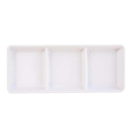 K'sキッチン アウトレット 三つ仕切りプレート 3品皿 17.8cm 焼肉 日本製 美濃焼 陶器 陶磁器 食器 洋食器 白い食器 小分け 角皿 仕切り皿 仕切り 3つ 前菜皿 薬味皿 醤油皿 デザート皿 おつまみ皿 オードブル 白磁 カフェ タレ アペタ