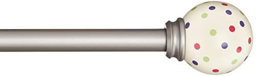 Amazon Basics - Bastone per tende, 1,6 cm, con elementi decorativi a pois, 122 cm, A pois rosa/viola/verdi