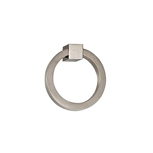 """Prima Round Modern Ring Pulls 2""""- Solid Brass Round Ring Pull, Sand Casted & Hand Finished Cabinet Ring Pulls for Kitchen Drawers, Modern Design & Sturdy Door Ring Pull Round – Satin Nickel"""