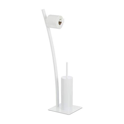 Relaxdays weiß, Garnitur, Toilettenpapierhalter, Bürste, WC-Bürstenhalter, hygienisch, HxBxT: 78x29x20 cm, White, Standard