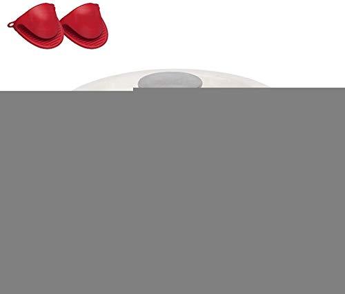 YZ-YUAN Four hollandais recouvert de Fonte émaillée Home Premium, Pot en émail antiadhésif avec Gants en Silicone, Pot à Soupe en Fonte de ménage Professionnel (24 cm), Blanc