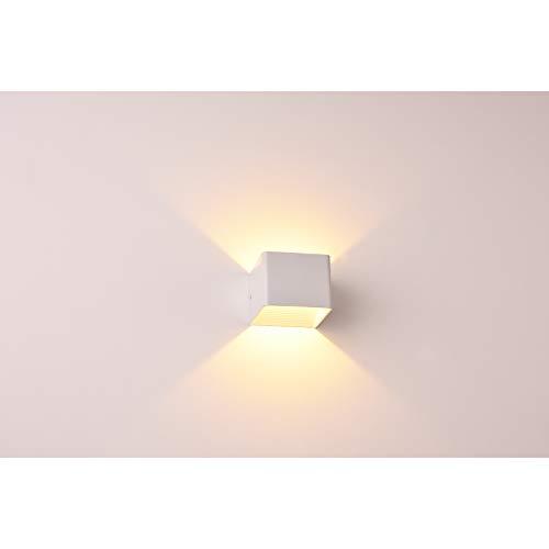 TYCOLIT 6W LED Wandleuchte Wandlampe, IP65 500LM Modern Up Down Indoor Wandleuchte Moderne Aluminium Wandleuchte Leuchten für 2700K Warmweiß Wohnzimmer Schlafzimmer, 1 Stück (Weiß)