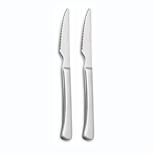 Comas Cuchillo Carne Mesa Juego 2 Cuchillos Chuleteros de Acero Inoxidable. Hoja Sierra 21,5 cm.