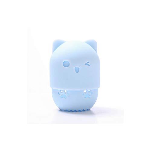 Beauté Powder Puff porte mélangeur éponge maquillage oeuf séchage cas cosmétique en silicone souple portable Support Blender Case éponge,Blue