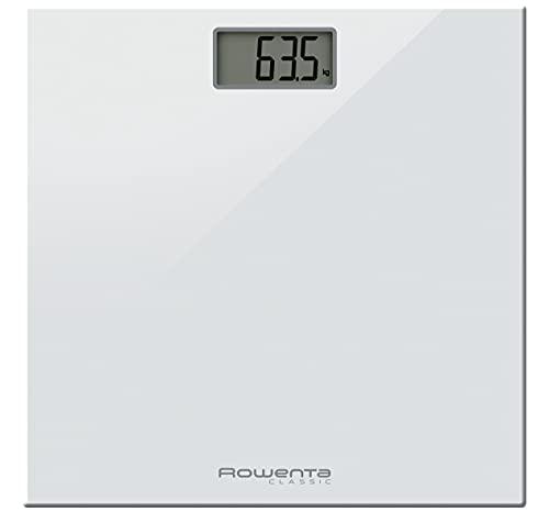 Rowenta Classic BS1131 - Báscula digital, con pantalla LCD, compacta, capacidad de 160 kg, plataforma de vidrio, apagado automático e incluye pilas, color blanco