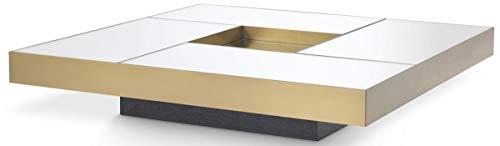 Casa Padrino Mesa de Centro de Lujo latón/Negro 120 x 120 x A. 23,5 cm - Mesa de salón Cuadrada de Acero Inoxidable con Tablero de Vidrio Espejo - Muebles de salón - Calidad de Lujo