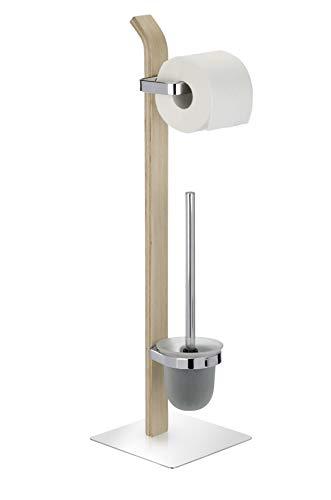 WENKO Stand WC-Garnitur Samona Nature, moderner Ständer für Toilettenpapier & Toilettenbürste, inkl. WC-Bürste mit auswechselbarem Bürstenkopf, Holz mit Chrom-Akzenten, 20 x 71,5 x 20 cm, braun