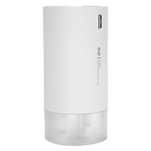SZHWLKJ Blanco 430 ml mini doble humidificador de aire digital coche humidificador noche luz USB carga