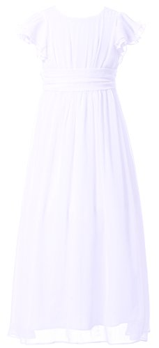 Happy Rose Flower Girl's Dress Prom Party Bridesmaid Dress Long White 8