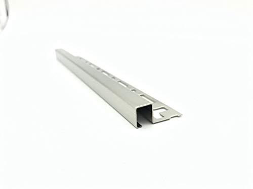 ProDiva DECORAT - Edelstahl V4A Premium Qualität - Fliesenprofil, Quadratprofil, Abschlussleiste, Sockelleiste, Wandabschluss (Gebürstet, 12,5 mm) - Länge 2,50 m