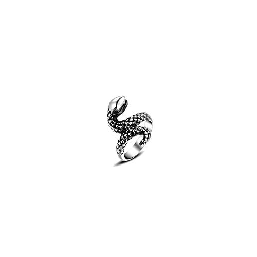 AOLIGEl Joyería de fundición de Acero de Titanio Retro Punk Marea en Forma de Serpiente Anillo Masculino y Femenino Anillo de Acero de Titanio